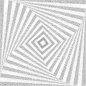 Design Monochrome Twirl Movement Square Geometric Background. Abstract Doodle Strip Torsion Backdrop