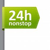 Green Leather 24 Hour Nonstop Open Bookmark Label
