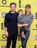 LOS ANGELES - NOV 17:  Glenn Howerton, Jill Latiano and Miles Howerton arrives to the P.S. Arts Expr