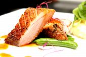 picture of duck breast  - A Duck breast with orange sauce and mash totato - JPG