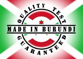 picture of burundi  - Quality test guaranteed stamp with a national flag inside Burundi - JPG