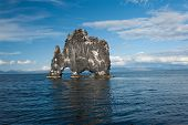 foto of petrified  - Hvitserkur is a spectacular rock in the sea on the Northern coast of Iceland - JPG