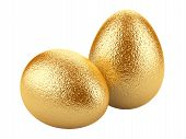Golden Easter Eggs On White Background.