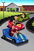 pic of karts  - A vector illustration of happy family playing go - JPG