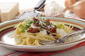 Spaghetti With Cheese Sauce And Pancetta