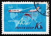 Postage Stamp Russia 1963 Passenger Airplane