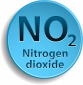 pic of ozone layer  - Blue button with nitrogen dioxide - JPG