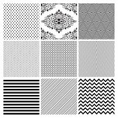stock photo of geometric  - Seamless Black and White geometric subtle background patterns - JPG
