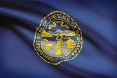 Series Of Ruffled Flags. State Of Nebraska.