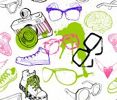 Seamless pattern with hipster fashion accessories: sunglasses, camera, sneakers.