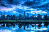 High dynamic range (hdr) image of Angkor Wat - famous Cambodian landmark - on sunrise. Siem Reap, Ca