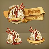 Sweet dessert with chocolate, retro vector icon