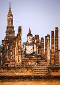 Buddha statue in Wat Mahathat temple, Sukhothai Historical Park, Thailand