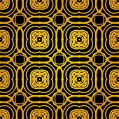 Vector geometric art deco pattern with gold shapes