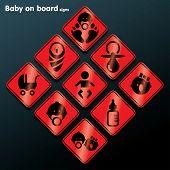 Flat baby on board sign set - vector illustration