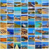 a collage of different spanish beaches, in the mainland and in the Balearic Islands and the Canary Islands