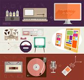 The Future is Now. Vintage Gadgets Flat Icons Set. Retro PC, TV, Vinyl Player, Cassette and Tube Amp