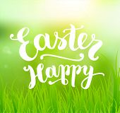 Easter Holiday Vector. Green Spring Design. Grass and Sun. Typographic Lettering Happy Easter.