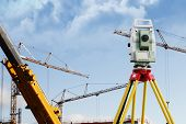measuring instrument, building-site and cranes, technology for a construction surveyor