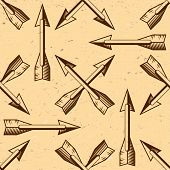 Seamless pattern with vintage arrows