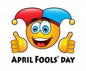 picture of fool  - round yellow emoticon in jester cap on Fools - JPG