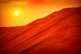 stock photo of sahara desert  - Desert sunset landscape - JPG