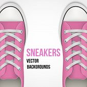 Background of simple pink classic sneakers. Realistic Vector Illustration.