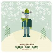 christmas and new year 2015. Hipster goat.Vector flat illustration.