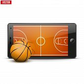 Mobile phone with basketball ball and field on the screen.
