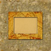 Abstract Ancient Background In Scrapbooking Style With Chaotic Ornamental And Paper Frame