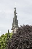 Steeple Behind A Red Tree In Summer