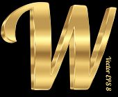 3d golden vector alphabet letter W. Vintage font, eps 8
