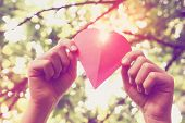 Hands holding paper heart. Instagram effect