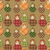 seamless background with traditional russian doll matryoshka