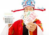 God Of Wealth Holding A Compute Machine And Chinese Currency