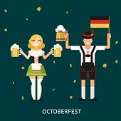 Retro Oktoberfest Male and Female Characters in Traditional Costumes with Accessories Trendy Modern