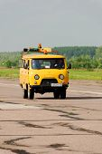 NIZHNY NOVGOROD. RUSSIA. JULY 31, 2014. STRIGINO AIRPORT.Car of technical service of the airport.