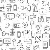 Seamless pattern of of flat colorful vector journalism icons. Mass media. Communication. Illustratio