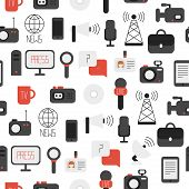 image of mass media  - Seamless pattern of of flat colorful vector journalism icons - JPG