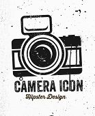Hand Drawn Hipster Vintage Photo Camera. Concrete Wall Texture.