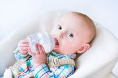 stock photo of harness  - Adorable litle baby boy in a colorful shirt drinking milk from a plastic bottle sitting in a high chair with safety harnesses belts - JPG