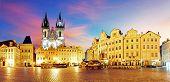 Prague Old Town Square At Night - Panorama