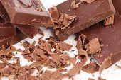 stock photo of bittersweet  - Chocolate bars and shaving - JPG