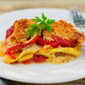 A Slice Of Tomato, Red Capsicum, Zucchini And Feta Gratin