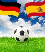 Football Field And National Flags Of Germany And Spain