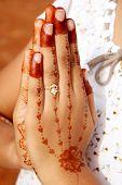 Namaste with mehandi hand