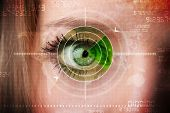 Cyber woman with modern military target eye concept