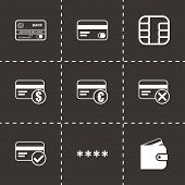 Vector black credit card eyes icons set