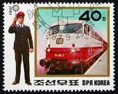 Postage Stamp North Korea 1987 Expres Train And Ticket Inspector