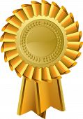 stock photo of rosette  - Gold award rosette award seal - JPG